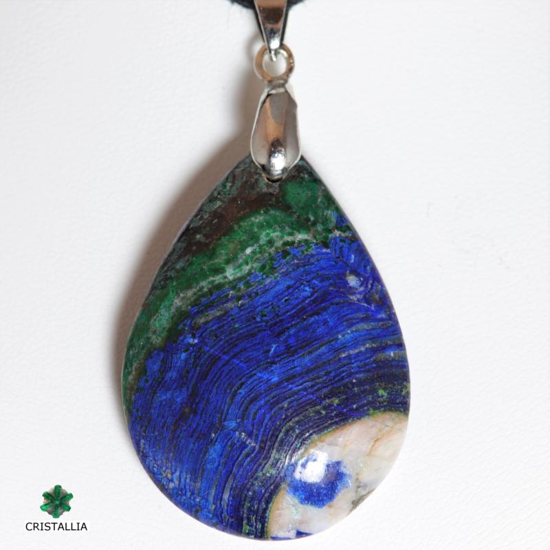 Pendentif pierre naturelle Azurite malachite
