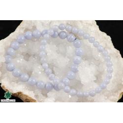 Bracelet perles Calcédoine bleue 6 et 8 mm